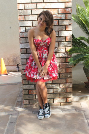 red Forever 21 dress - black Converse shoes