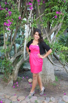 heather gray shoes - hot pink unknown dress