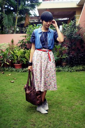 blue vest - pink skirt - brown Dolce & Gabbana bag - gray in her shoes shoes