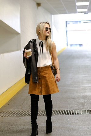 black suede Zara boots - light orange suede Forever 21 shirt - black top