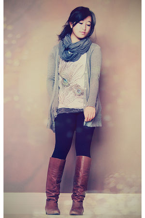 gray Jacob cardigan - white f21 shirt - black Gap leggings - brown Nine West boo