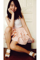 white from greenhills top - pink Cocobelle skirt - Kimi shoes