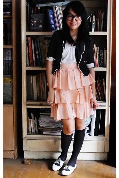 gray from singapore skirt - pink Cocobelle socks - gray Forever 21 shoes - white