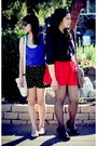 Red-shorts-polka-dot-shorts-retro-xhilaration-shirt-black-bow-shirt