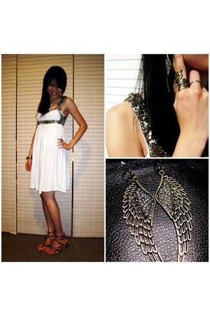 white dress Sportsgirl dress - gold diva earrings