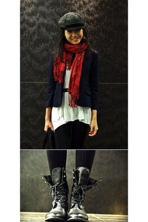 black military boots Promod boots - navy navy wool Topshop blazer