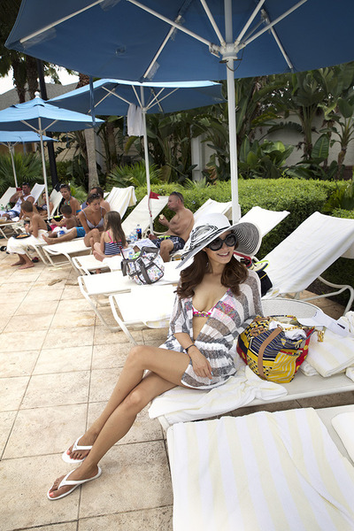 flip flops Prada shoes - WHBM hat - Prada sunglasses - cover-up ONeill top