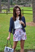 Chanel jacket - Chanel bag - periwinkle Stella McCartney shorts - Theory blouse
