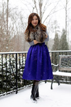 Topshop skirt - Hunter boots - fur Prada vest - Express top