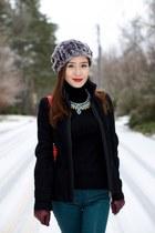 bcbg max azria necklace - winter Hunter boots - Giorgio Armani jacket