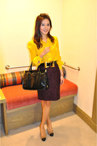 yellow tory burch blouse - Chanel shoes - python Prada bag - Gucci belt