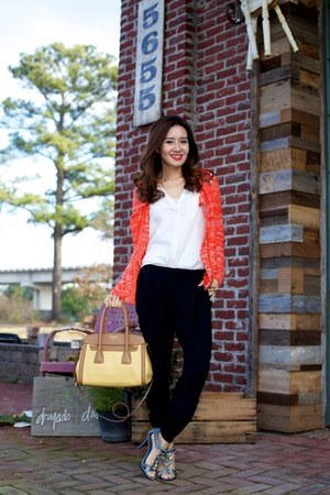 Jamison cardigan - vera wang shoes - Prada bag - Joie blouse - vince pants