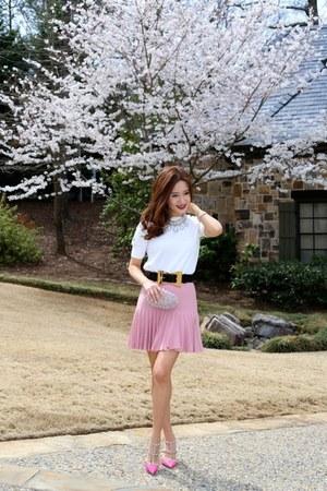 Chanel skirt - studded Valentino shoes - blouse Zara shirt - Gucci belt