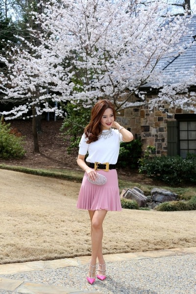 Chanel skirt - studded Valentino shoes - blouse Zara shirt - Gucci belt
