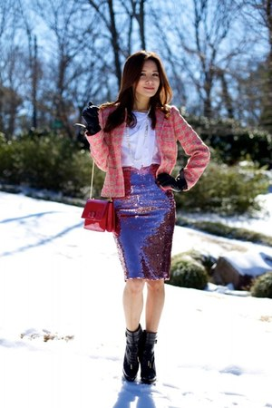 Topshop skirt - Burberry shoes - RED valentino jacket - Salvatore Ferragamo bag