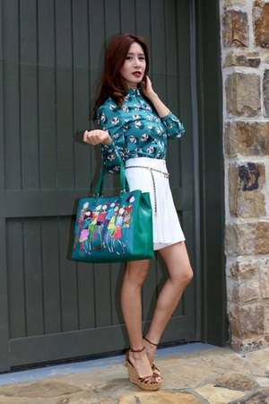 blouse Gucci shirt - Love Moschino bag - Chanel skirt - Gucci wedges