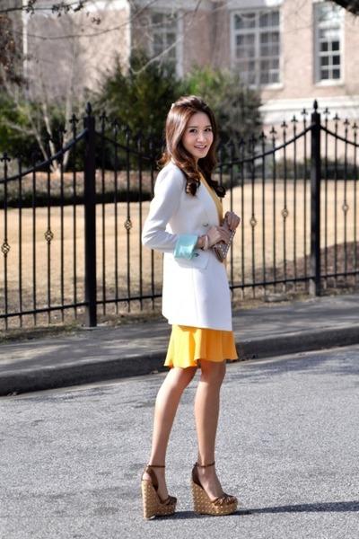 Egoist blazer - Prada dress - Gucci wedges