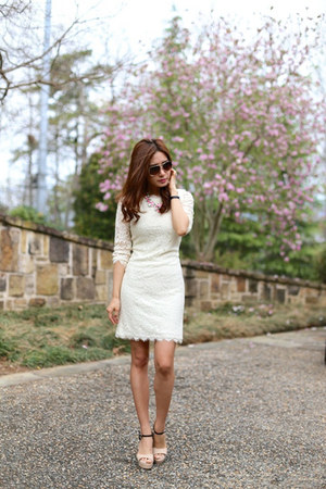 statement kate spade necklace - Chanel shoes - lace dvf dress