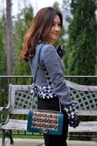 black Burberry skirt - tory burch jacket - Chanel bag