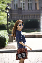 Prada skirt - vera wang shoes - Keith shirt - Chanel bag - Ray Ban sunglasses