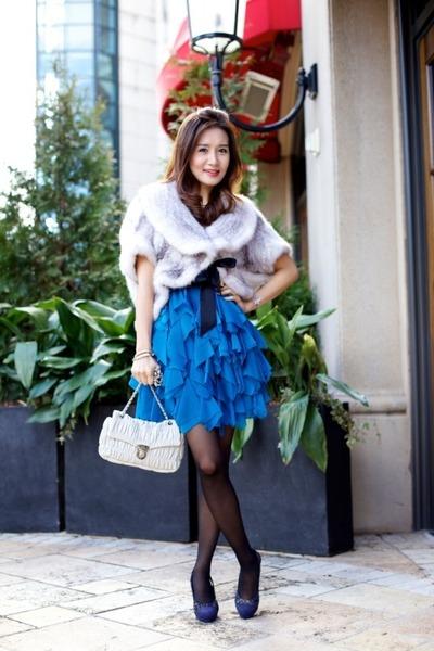 fur Elfee vest - Chanel shoes - Adrianna Papell dress - Prada bag - Gucci belt