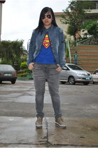 superman shirt - shoes - faded gray jeans - denim jacket jacket