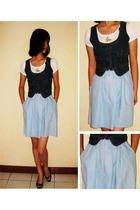 Zara shirt - Zara skirt - Topshop vest - charles&keith shoes