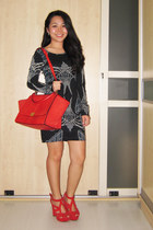 red Celine bag - navy printed French Connection panties - red cutout Zara heels