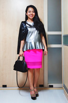 black Louis Vuitton bag - hot pink Topshop skirt - heather gray H & M top