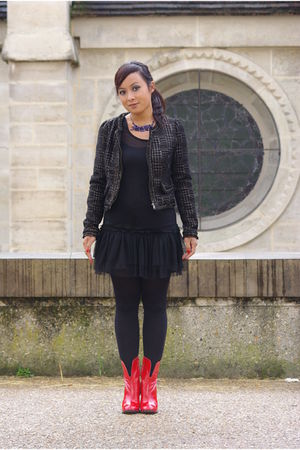 black By Joos jacket - black Molly Bracken dress - red Chloe boots - blue Camill