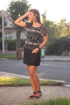 teal top - black skirt