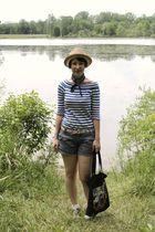 beige Target hat - blue gift shirt - blue dollar store tie - blue Target shorts
