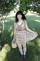 beige Forever 21 dress - beige Salvation Army purse - blue Target socks - brown