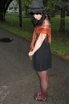 orange vintage scarf - black Forever 21 dress - brown Target tights - black Targ