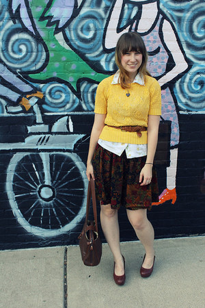 dark brown floral print thrifted skirt - gold thrifted vintage sweater