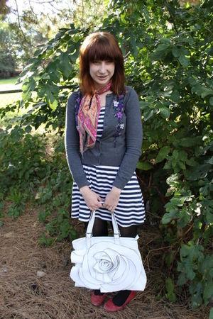 white Thrift Store dress - pink Thrift Store scarf - white gift bag - gray Forev