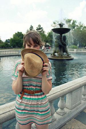 sky blue striped modcloth dress - beige Target hat - tawny woven thrifted belt -