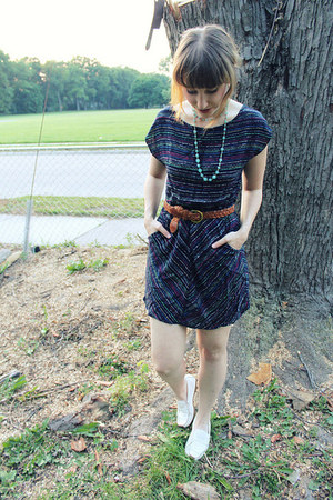 black stripes modcloth dress - brown woven thrifted belt - eggshell thrifted loa