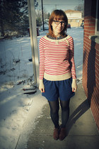 brown grannie boots thrifted boots - coral striped Old Navy sweater - blue high-