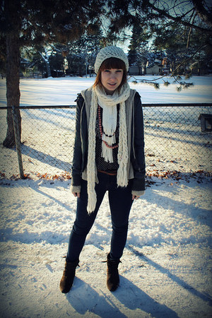 gray Urban Outfitters jacket - navy Urban Outfitters jeans - beige handmade hat