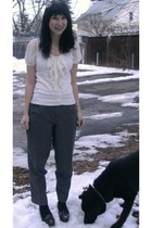 white Forever 21 shirt - gray thirfted pants - brown alloy shoes