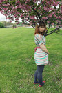 Turquoise-blue-striped-modcloth-dress-charcoal-gray-payless-tights-coral-wor