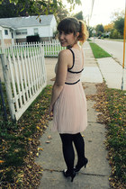 light pink pleated modcloth dress - dark brown plaid gift coat