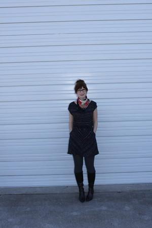 dark gray modcloth dress - dark brown sears boots - brick red thrifted scarf