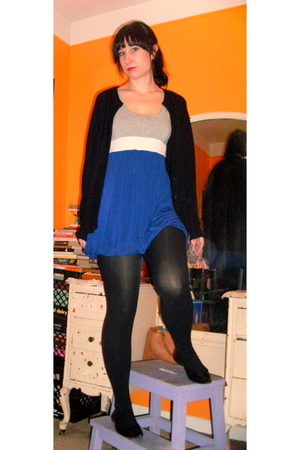 blue Forever 21 dress - black thrifted sweater - Target tights - payless shoes