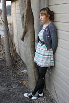 white saddle Payless shoes - aquamarine stripes modcloth dress - black CVS tight