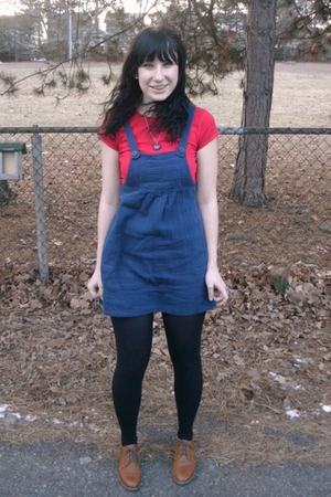 red Target t-shirt - blue Forever 21 dress - black Target tights - brown Etsy sh