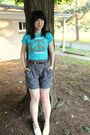 Blue-thrifted-t-shirt-gray-forever-21-shorts-black-forever-21-belt-white-t