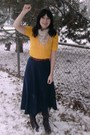 Yellow-vintage-sweater-blue-thrifted-skirt-brown-sears-boots-beige-target-