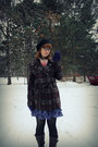 Dark-brown-bongo-boots-purple-plaid-gift-dress-dark-brown-plaid-gift-coat-
